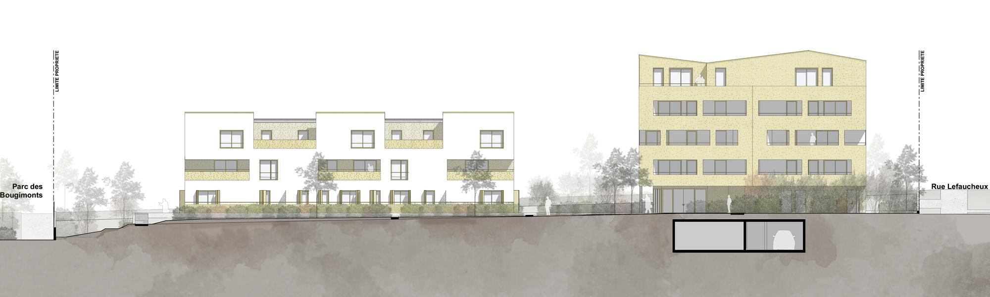 façade Ouest sur cour intérieure