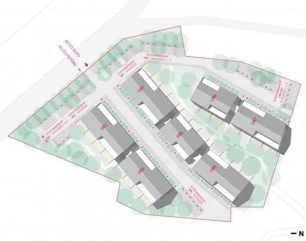 40 logements semi-collectifs locatifs sociaux dans le Val d'Oise - Plan masse