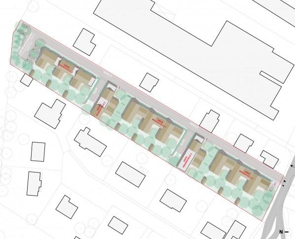13 logements individuels groupés locatifs sociaux dans les Yvelines - Plan masse