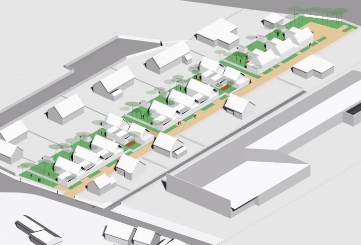 13 logements individuels groupés locatifs sociaux dans les Yvelines - Vue axonométrique SE