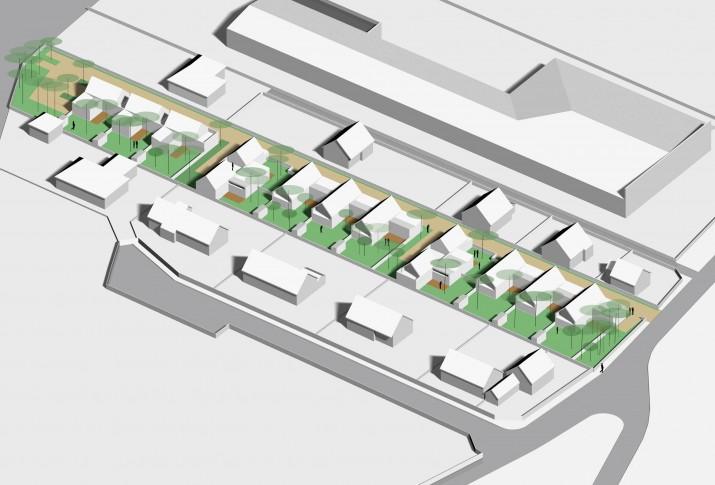 13 logements individuels groupés locatifs sociaux dans les Yvelines - Vue axonométrique SO