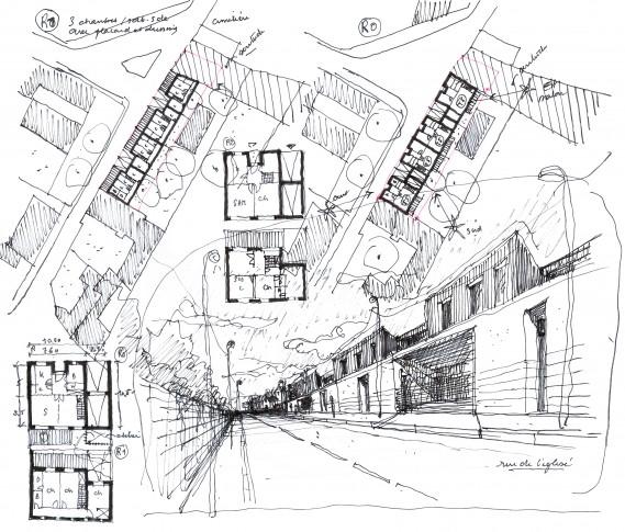 Etude d'implantation de maisons en bande sur une parcelle en limite de voie