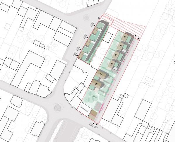 Plan masse lots 2 et 3 / En centre-bourg