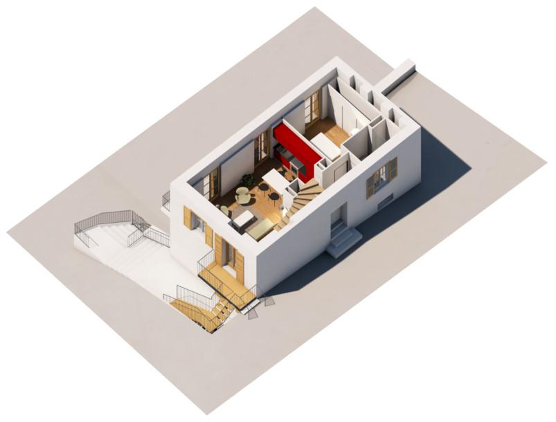 L'étage bas d'un logement type 4 duplex au R+2