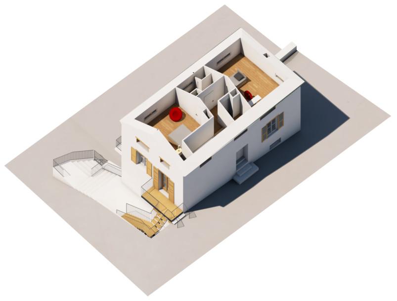 L'étage haut (chambres) du logement Type 4 aménagé sous les combles